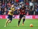 Benik Afobe and Hector Bellerin during the Premier League game between Bournemouth and Arsenal on February 7, 2016