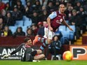 Gabriel Agbonlahor scores the second during the Premier League game between Aston Villa and Norwich City on February 6, 2016