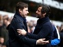 Mauricio Pochettino and Quique Flores embrace prior to the Premier League match between Tottenham Hotspur and Watford at White Hart Lane on February 6, 2016