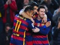 Three-headed Broadway star Neymar, Luis Suarez and Lionel Messi celebrate scoring during the Copa del Rey game between Barcelona and Valencia on February 3, 2016