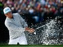 Rickie Fowler hits out of the bunker on the 16th hole during the first round of the Waste Management Phoenix Open on February 4, 2016