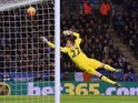Simon Mignolet dives in vain during the Premier League game between Leicester and Liverpool on February 2, 2016