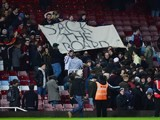 Aston Villa fans hold a 'sack the board' sign during the Premier League game between West Ham and Aston Villa on February 2, 2016