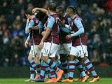 Joleon Lescott celebrates scoring during the Premier League game between Aston Villa and Norwich City on February 6, 2016