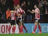 Maya Yoshida celebrates scoring the opener during the Premier League game between Southampton and West Ham United on February 6, 2016