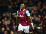 Michail Antonio celebrates scoring during the Premier League game between West Ham and Aston Villa on February 2, 2016