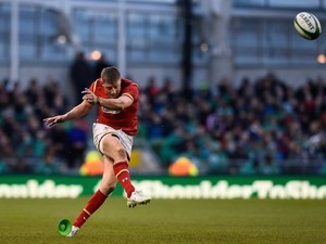 Rhys Priestland kicks during the Six Nations game between Ireland and Wales on February 7, 2016