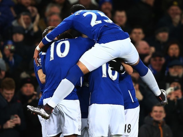 Aaron Lennon is dryhumped by teammates during the Premier League game between Everton and Newcastle on February 3, 2016
