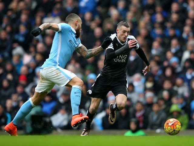 Jamie Vardy comes up against Nicolas Otamendi during the Premier League game between Manchester City and Leicester City on February 6, 2016