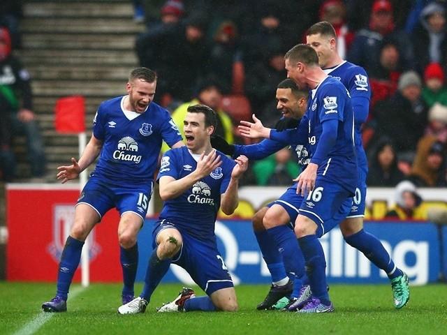 Seamus Coleman celebrates scoring Everton's second goal against Stoke City on February 6, 2016