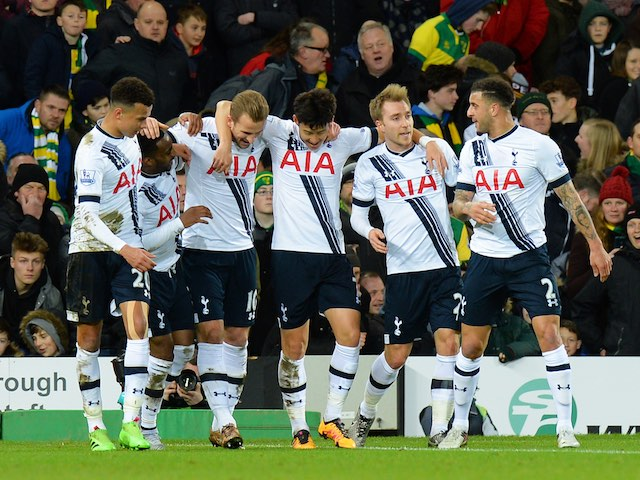 """The lads"" celebrate Harry Kane's penalty during the Premier League game between Norwich and Spurs on February 2, 2016"