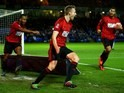 Darren Fletcher celebrates finding the equaliser during the FA Cup replay between Peterborough United and West Bromwich Albion on February 10, 2016