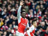Danny Welbeck celebrates finding the winner during the Premier League game between Arsenal and Leicester City on February 14, 2016