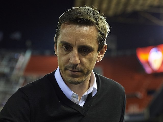 Gary 'To me, to you' Neville appears ahead of the La Liga game between Valencia and Espanyol on February 13, 2016