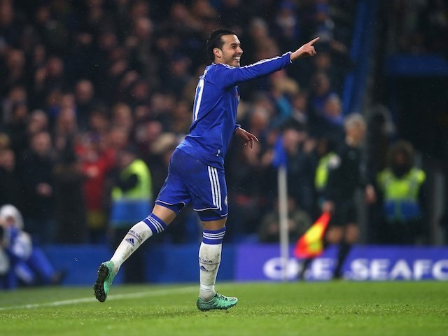Pedro scores the fourth during the Premier League game between Chelsea and Newcastle United on February 13, 2016