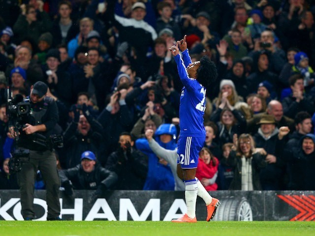 Willian celebrates scoring during the Premier League game between Chelsea and Newcastle United on February 13, 2016