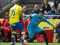 Neymar and Roque Mesa Quevedo in action during the La Liga game between Las Palmas and Barcelona on February 20, 2016