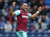 Dimitri Payet celebrates scoring during the FA Cup game between Blackburn Rovers and West Ham United on February 20, 2016
