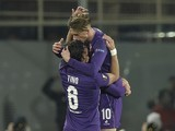 Federico Bernardeschi celebrates scoring during the Europa League game between Fiorentina and Tottenham Hotspur on February 18, 2016