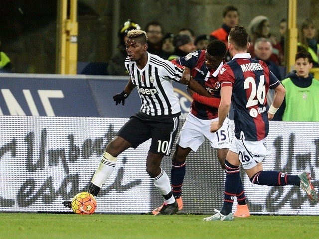 Paul Pogba of Juventus in action during the Serie A match against Bologna on February 19, 2016