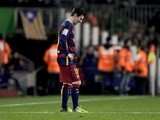 Lionel Messi is also unhappy at not winning during the La Liga game between Barcelona and Sevilla on February 28, 2016