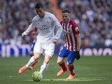 Saul Niguez and Cristiano Ronaldo in action during the La Liga game between Real Madrid and Atletico Madrid on February 27, 2016