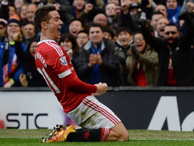 Ander Herrera celebrates scoring during the Premier League game between Manchester United and Arsenal on February 28, 2016