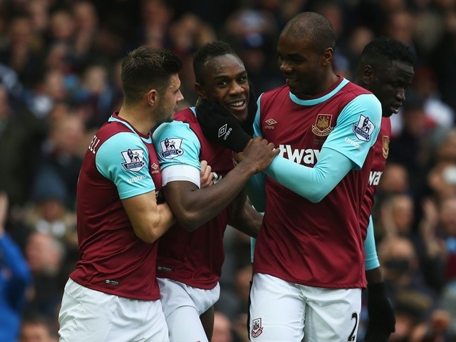 Michail Antonio celebrates scoring his team's first goal in the Premier League match between West Ham United and Sunderland at Boleyn Ground on February 27, 2016