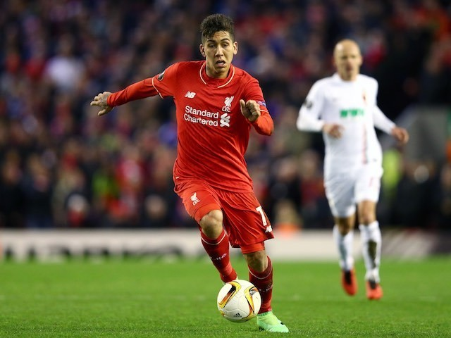 Roberto Firmino strides confidently during the Europa League game between Liverpool and Augsburg on February 25, 2016