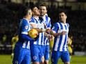 Tomer Hemed celebrates with teammates after scoring during the Championship game between Brighton & Hove Albion and Leeds United on February 29, 2016
