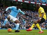 Aly Cissokho and Wilfried Bony in action during the Premier League game between Manchester City and Aston Villa on March 5, 2016