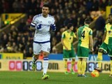 Kenedy celebrates scoring during the Premier League game between Norwich City and Chelsea on March 1, 2016