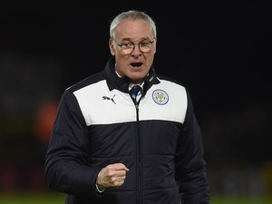 Claudio Ranieri celebrates at the end of the Premier League game between Watford and Leicester City on March 5, 2016
