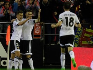 Denis Cheryshev celebrates scoring during the La Liga game between Valencia and Atletico Madrid on March 6, 2016