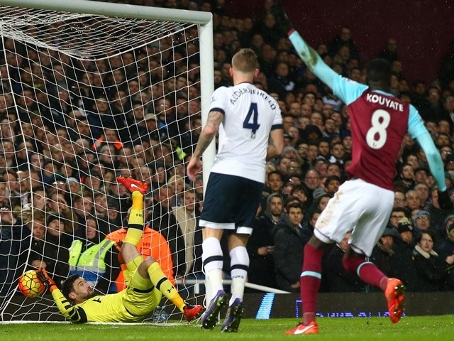 Hugo Lloris is beaten by Michail Antonio for the opening goal during the Premier League match between West Ham United and Tottenham Hotspur at Boleyn Ground on March 2, 2016