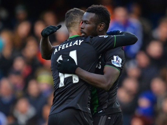 Mame Diouf celebrates scoring the equaliser during the Premier League game between Chelsea and Stoke City on March 5, 2016