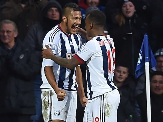 Salomon Rondon celebrates with Saido Berahino after finding the opener during the Premier League game between West Bromwich Albion and Manchester United on March 6, 2016