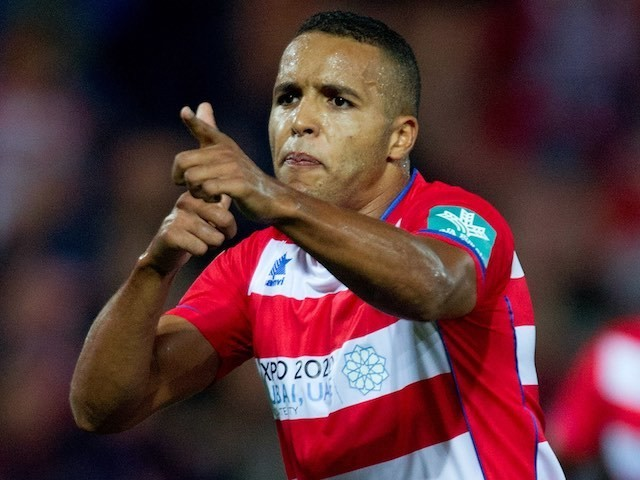 Youssef El Arabi celebrates scoring for Granada in a La Liga game from back in the day