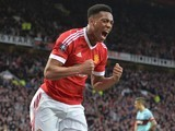 Anthony Martial finds an equaliser during the FA Cup game between Manchester United and West Ham United on March 13, 2016