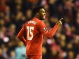 Daniel Sturridge celebrates scoring from the penalty spot during the Europa League game between Liverpool and Manchester United on March 10, 2016