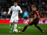 James Rodriguez and Lucas Digne are dumbfounded during the Champions League game between Real Madrid and Roma on March 8, 2016