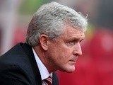 Mark Hughes looks on prior to the Premier League match between Stoke City and Southampton on March 12, 2016