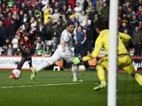 Max Gradel gets his team's first during the Premier League game between Bournemouth and Swansea City on March 12, 2016