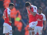 Olivier Giroud and Mesut Ozil look distraught during the FA Cup game between Arsenal and Watford on March 13, 2016