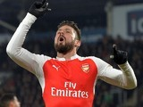 Olivier Giroud gestures for the bill during the FA Cup game between Hull City and Arsenal on March 8, 2016