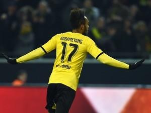 Borussia Dortmund striker Pierre-Emerick Aubameyang celebrates scoring against Tottenham Hotspur in the Europa League on March 10, 2016