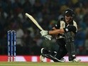 New Zealand batsman Corey Anderson plays a shot during the World T20 cricket tournament match against India on March 15, 2016
