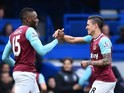 Manuel Lanzini celebrates scoring with Diafra Sakho during the Premier League game between Chelsea and West Ham United on March 19, 2016