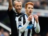 Jack Colback is smoulderingly defiant after taking a yellow during the Premier League game between Newcastle United and Sunderland on March 20, 2016