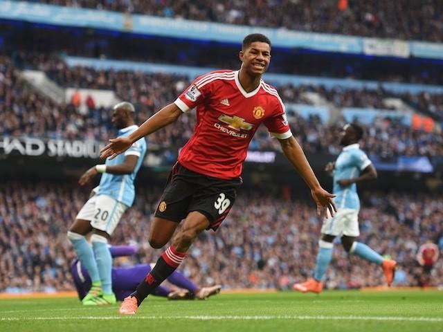 Manchester United striker Marcus Rashford celebrates scoring in the Manchester derby on March 20, 2016